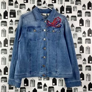 Chico's | Women's Embroidered Jean Jacket Size 2